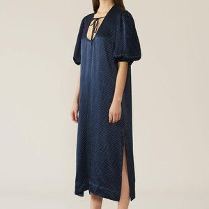 Ganni Polka Dot Printed HEAVY SATIN LONG DRESS Nav